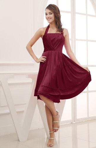 Elegant Halter Sleeveless Chiffon Ruching Club Dresses