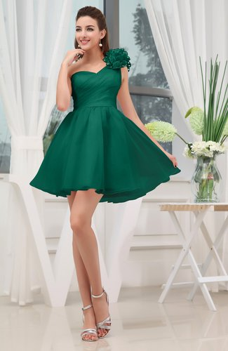Elegant Asymmetric Neckline Zipper Organza Short Ruching Graduation Dresses