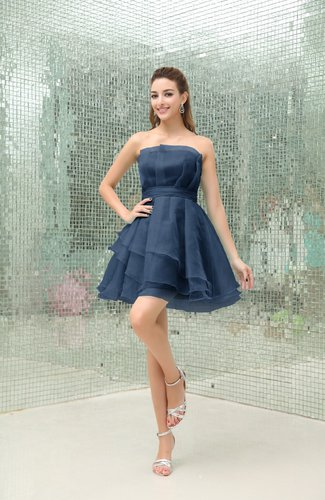 Simple A-line Strapless Sleeveless Organza Mini Cocktail Dresses