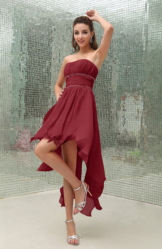 Plain Sleeveless Zipper Chiffon Ankle Length Ruching Wedding Guest Dresses