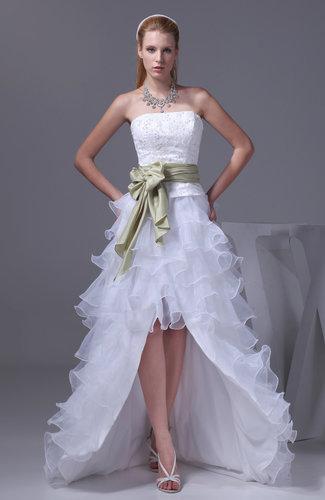 Hawaiian Outdoor Strapless Zipper Organza Floor Length Tiered Bridal Gowns