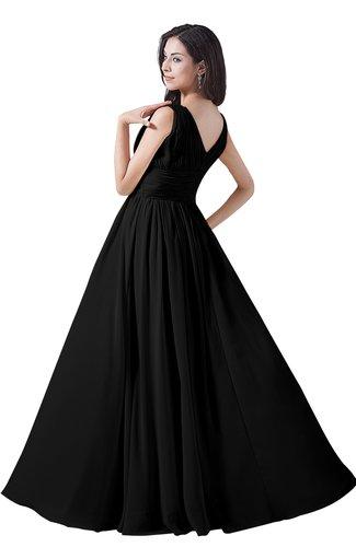 1d06dc8e582 ... Elegant A-line V-neck Sleeveless Floor Length Ruching Party Dresses