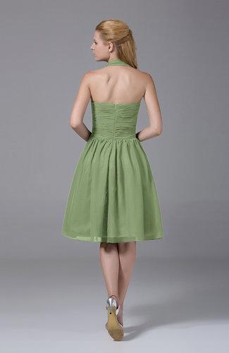 Sage Green Modest Halter Sleeveless Chiffon Knee Length