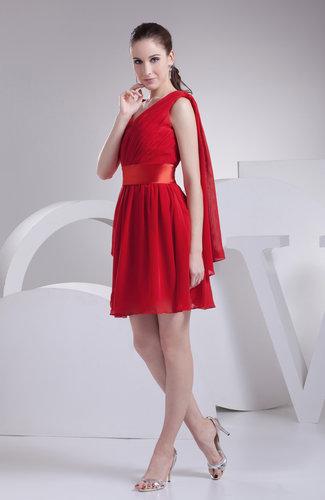 Elegant Asymmetric Neckline Sleeveless Chiffon Short Ruching Cocktail Dresses