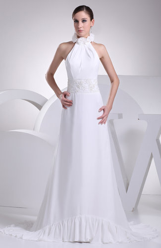 Elegant Hall A-line Halter Zip up Brush Train Flower Bridal Gowns