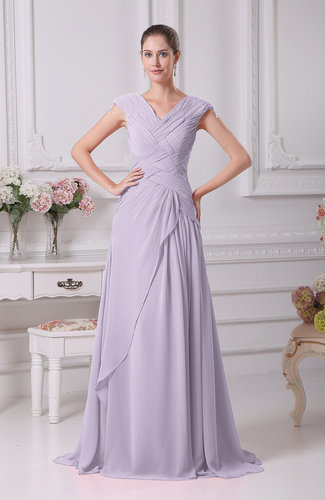 Elegant A-line V-neck Short Sleeve Chiffon Floor Length Prom Dresses