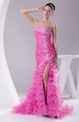 Sexy Column Strapless Sleeveless Organza Appliques Party Dresses