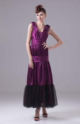 Plain Thick Straps Sleeveless Zipper Silk Like Satin Ankle Length Prom Dresses