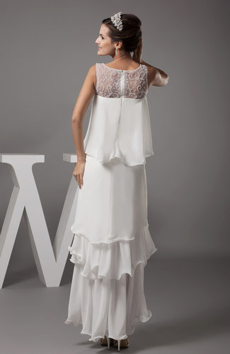 tiered wedding dress simple garden sleeveless tea length tiered bridal 7997