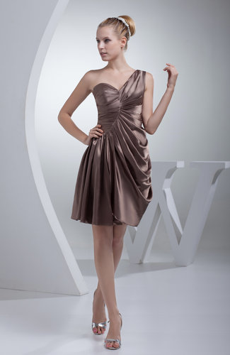 Elegant A-line Sleeveless Zip up Silk Like Satin Draped Bridesmaid Dresses