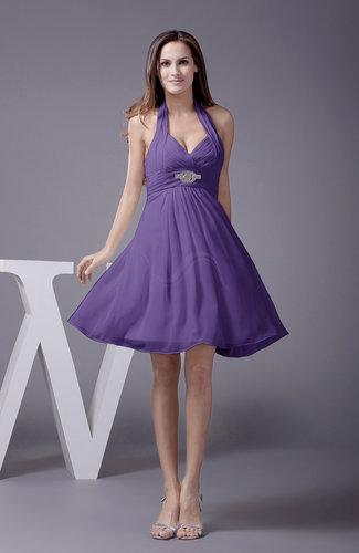 Elegant Halter Sleeveless Zip up Knee Length Flower Prom Dresses