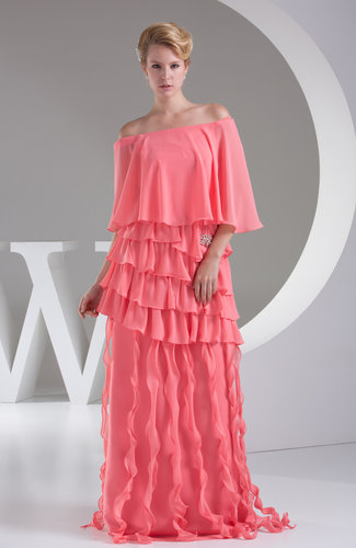 Cute A-line Off-the-Shoulder Chiffon Ruffles Prom Dresses