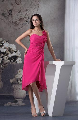 Plain Column Zip up Chiffon Flower Bridesmaid Dresses