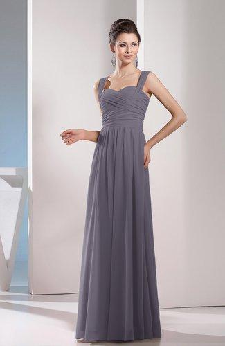 f4241f0de968 Ridge Grey Cute A-line Chiffon Floor Length Ruching Bridesmaid Dresses