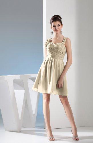 Simple Thick Straps Sleeveless Zipper Chiffon Ruching Prom Dresses
