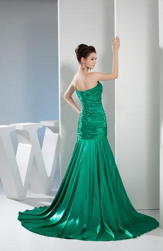 Green Mature One Shoulder Sleeveless Silk Like Satin