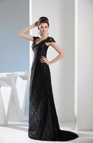 Sexy V-neck Short Sleeve Zip up Satin Brush Train Party Dresses