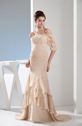 Modern Fit-n-Flare Backless Chiffon Court Train Evening Dresses