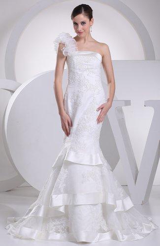 Elegant Outdoor Mermaid Asymmetric Neckline Sleeveless Zipper Court Train Bridal Gowns