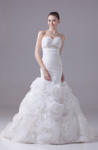 Glamorous Garden Trumpet Sweetheart Sleeveless Court Train Bridal Gowns
