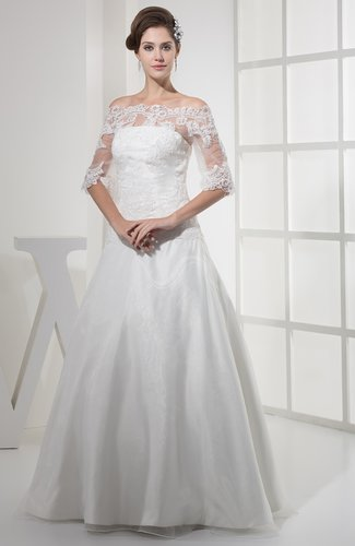 Elegant Beach A-line Illusion Zipper Organza Bridal Gowns