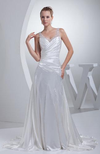 Simple Hall Sheer Sleeveless Silk Like Satin Rhinestone Bridal Gowns