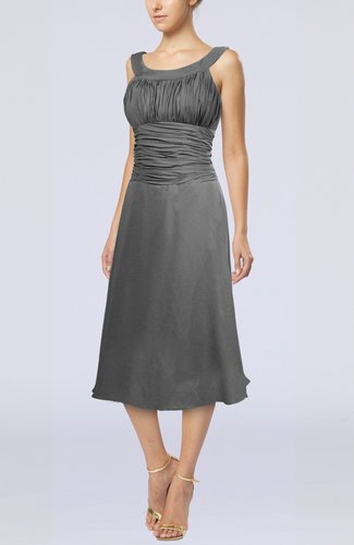 Simple Sleeveless Zip up Chiffon Tea Length Prom Dresses