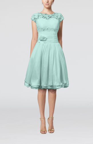 Cinderella A-line Scalloped Edge Short Sleeve Chiffon Knee Length Bridesmaid Dresses