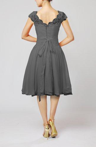 Grey Cinderella A Line Scalloped Edge Short Sleeve Chiffon