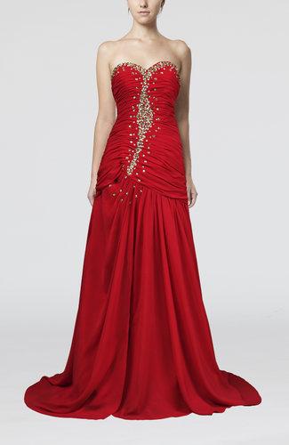 Luxury Sweetheart Sleeveless Brush Train Rhinestone Prom Dresses