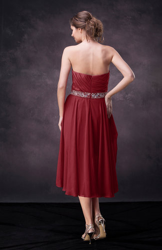 5a90cb0e936ae Dark Red Casual A-line Sweetheart Zip up Tea Length Bridesmaid ...