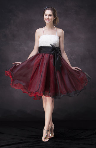 Casual A-line Halter Knee Length Ruching Party Dresses