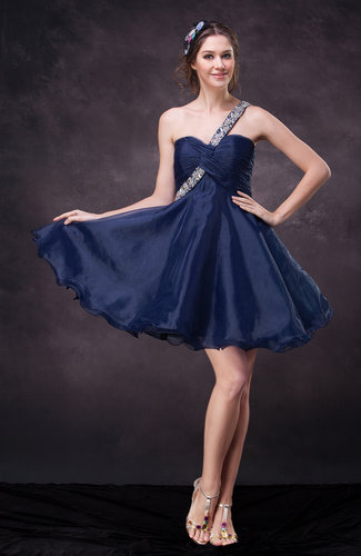 Cute A-line One Shoulder Sleeveless Organza Cocktail Dresses