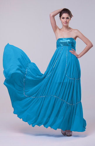 Romantic Empire Sleeveless Backless Sweep Train Evening Dresses