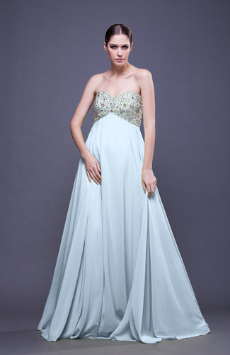Casual Sweetheart Zip up Chiffon Paillette Evening Dresses