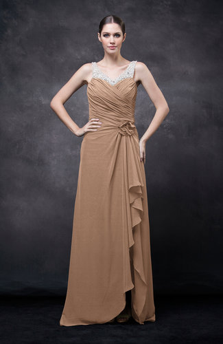 burnt orange romantic illusion backless chiffon flower