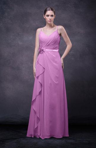 Romantic Sleeveless Zip up Chiffon Floor Length Flower Bridesmaid Dresses