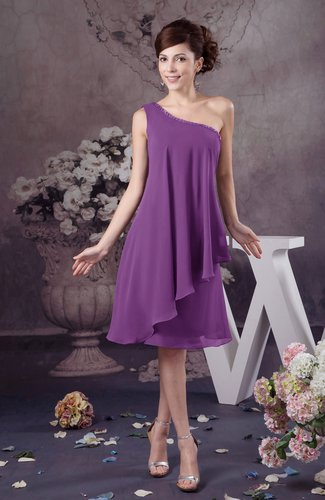 Chiffon Bridesmaid Dress One Shoulder Full Figure Informal Formal Modern