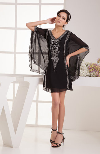 Summer Cocktail Dress with Sleeves Chic Winter Knee Length Unique Modern
