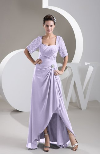 with Sleeves Bridesmaid Dress Chiffon Classy Apple Trendy Plain Full Figure