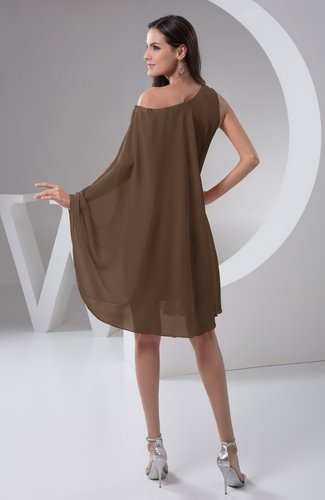 Chocolate Brown Chiffon Bridesmaid Dress Maternity Outdoor Plus Size Autumn  A line Modern