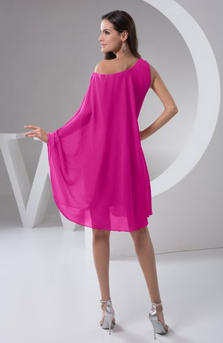 Hot Pink Chiffon Bridesmaid Dress Maternity Outdoor Plus Size Autumn A line  Modern