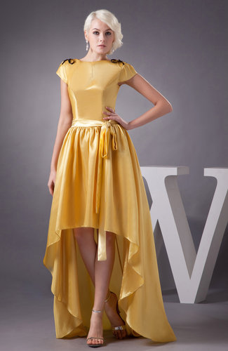 Light Yellow Vintage Homecoming Dress Unique Hi Low