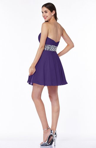 Dark Purple Cute Sweetheart Sleeveless Half Backless Chiffon ...