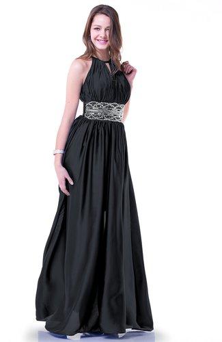 Glamorous Halter Sleeveless Chiffon-Satin Ribbon Plus Size Prom Dresses