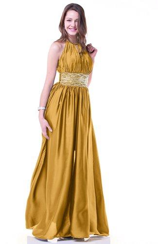 Gold Glamorous Halter Sleeveless Chiffon-Satin Ribbon Plus ...