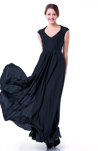 Navy Blue Classic A-line Zipper Chiffon Pleated Plus Size Prom Dresses