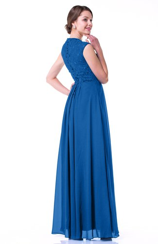 Royal Blue Classic A-line Zipper Chiffon Pleated Plus Size Prom Dresses