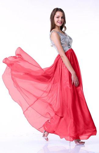 Luxury A-line V-neck Sleeveless Chiffon30 Pleated Plus Size Prom Dresses