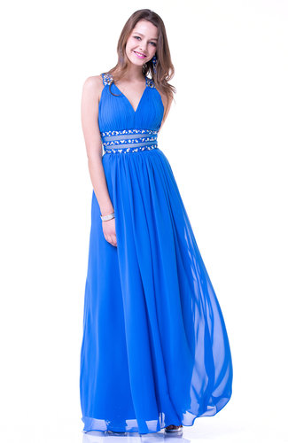 Glamorous A-line V-neck Sleeveless Sash Plus Size Prom Dresses